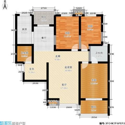 金业观湖大第3室0厅2卫1厨130.00㎡户型图