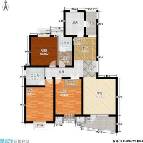 鼎鑫名流苑3室0厅2卫1厨133.00㎡户型图