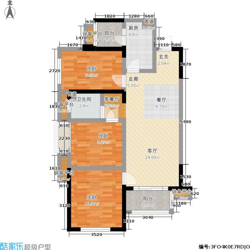 时光俊园92.00㎡一期6号楼标准层C户型