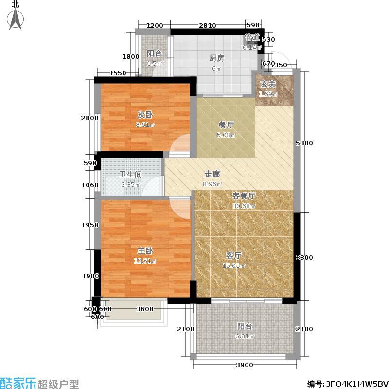 新地东方明珠89.00㎡3#栋户型2室2厅