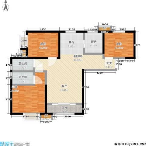 辰宇世纪城3室0厅2卫1厨121.00㎡户型图