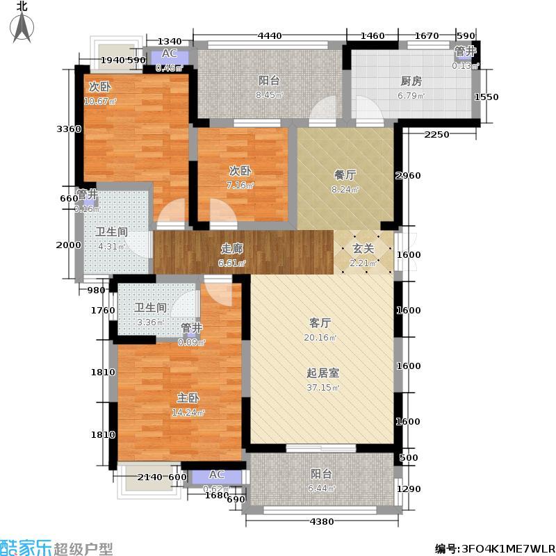 世茂香槟湖116.00㎡R户型3室2厅
