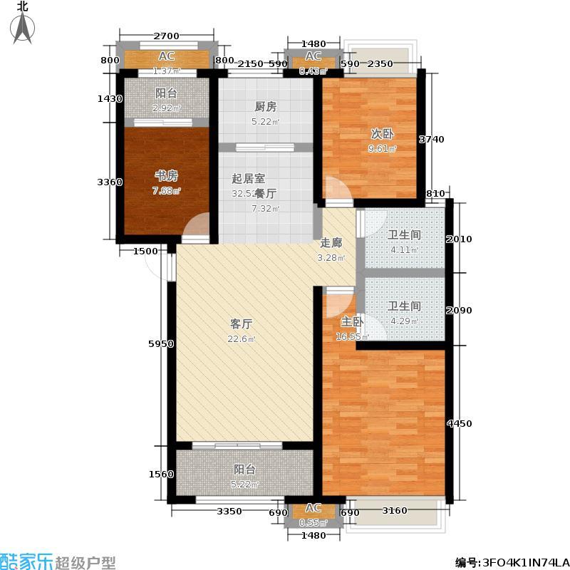 红石原著小区127.80㎡2-7#E3户型3室2厅