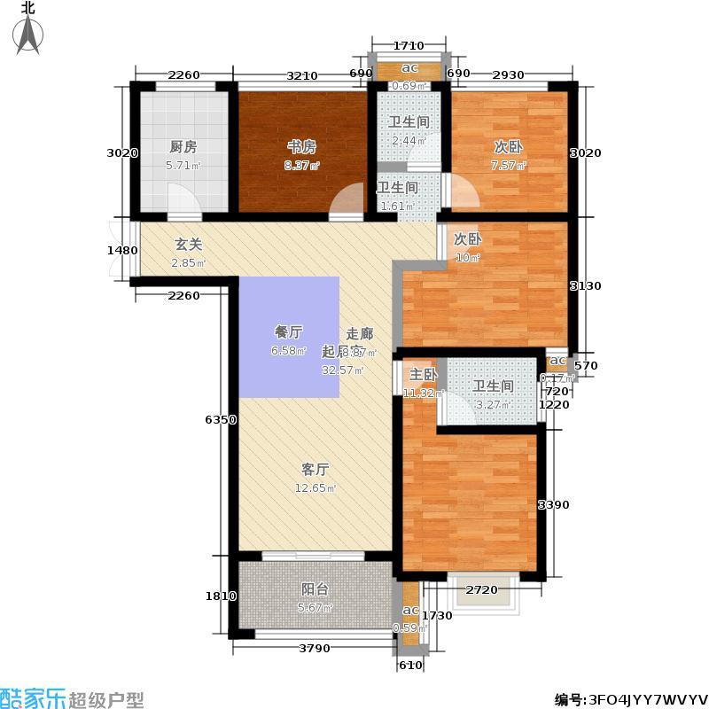 弘阳上院106.00㎡一期1、2、5号楼标准层C2户型