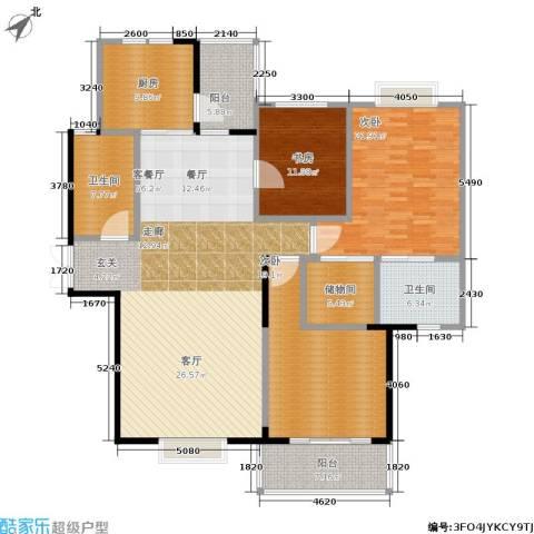 万科红郡3室1厅2卫1厨168.00㎡户型图
