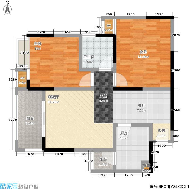兆甲合阳新城69.06㎡一期二号楼标准层1-2、2-3号房户型