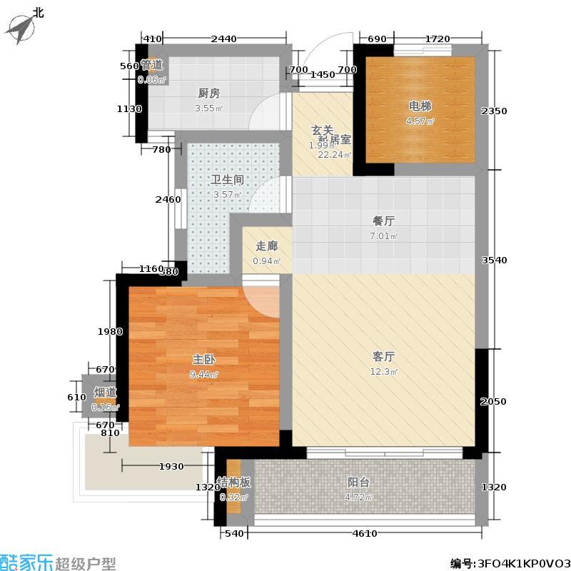 锦绣海湾城57.78㎡79座03单元1室户型1室2厅