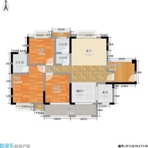 锦绣龙城八期鎏园3室1厅3卫1厨119.00㎡户型图