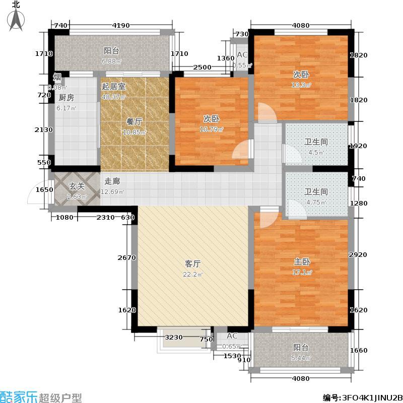 曲江龍邸135.00㎡D2户型3室2厅