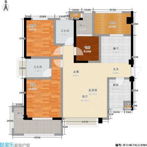 厦门禹洲高尔夫3室0厅2卫1厨113.00㎡户型图