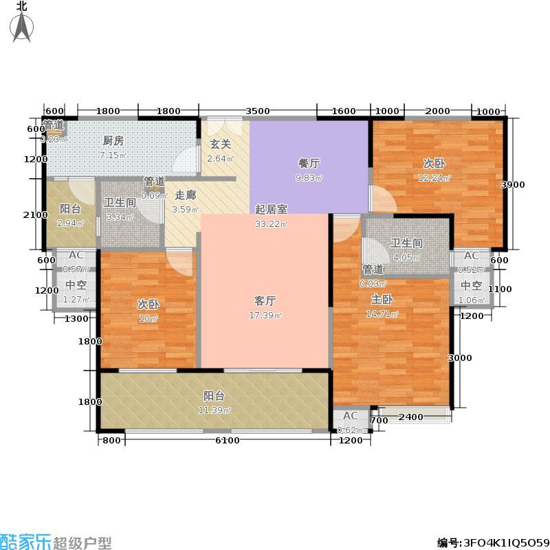 金科米兰米兰125.00㎡14#高层G02户型3室2厅