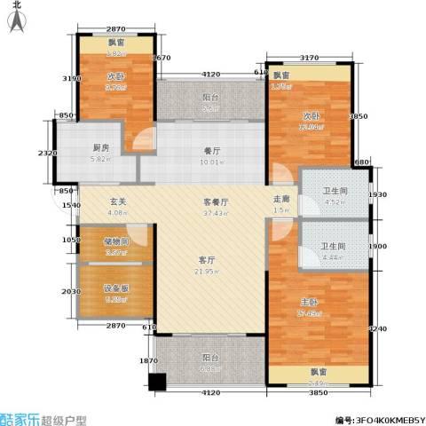 佛奥中金棕榈湾3室1厅2卫1厨122.00㎡户型图