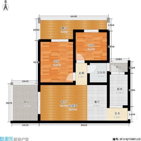 木里小镇2室0厅1卫1厨81.00㎡户型图