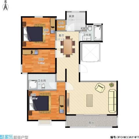 虹口典范二期3室1厅2卫1厨96.00㎡户型图