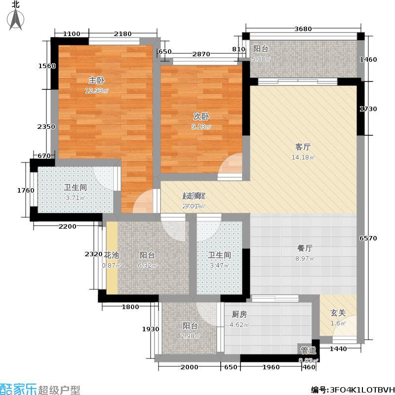 佳兆业东江豪门89.98㎡1栋2-22层01单位户型2室2厅