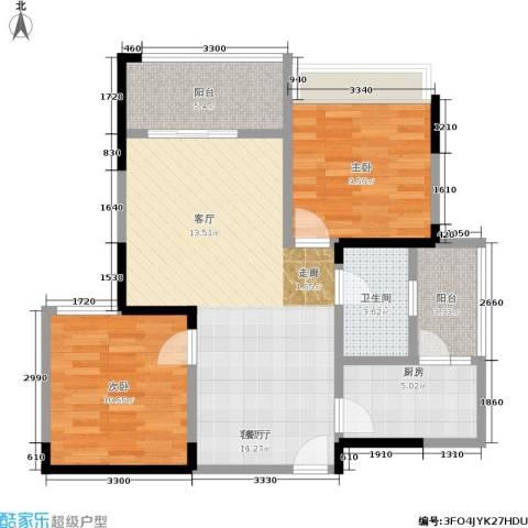 锦绣龙城八期鎏园2室1厅1卫1厨93.00㎡户型图