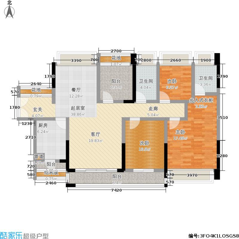 佳兆业东江豪门131.63㎡22栋标准层03单位户型4室2厅