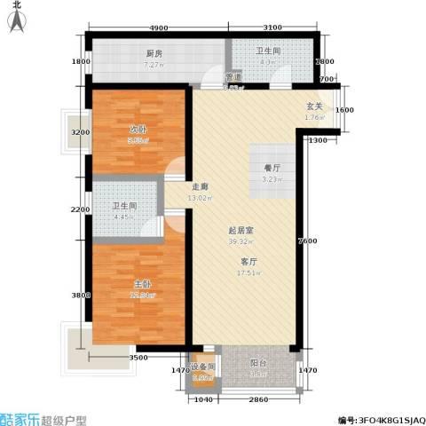 A派公寓2室0厅2卫1厨105.00㎡户型图
