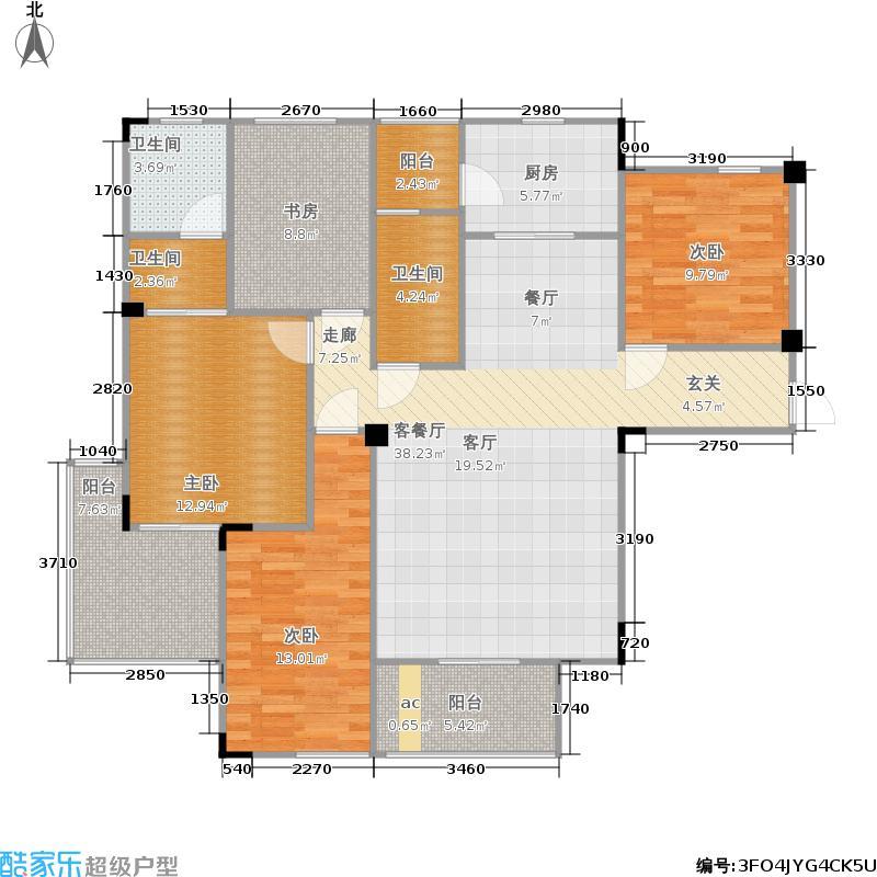 汉飞向上城124.02㎡2-5号楼D面积12402m户型