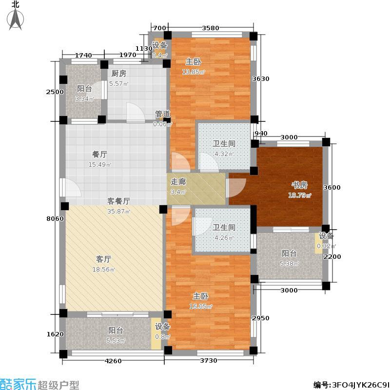 当代国际花园十五区高层126.24㎡3e-a户型