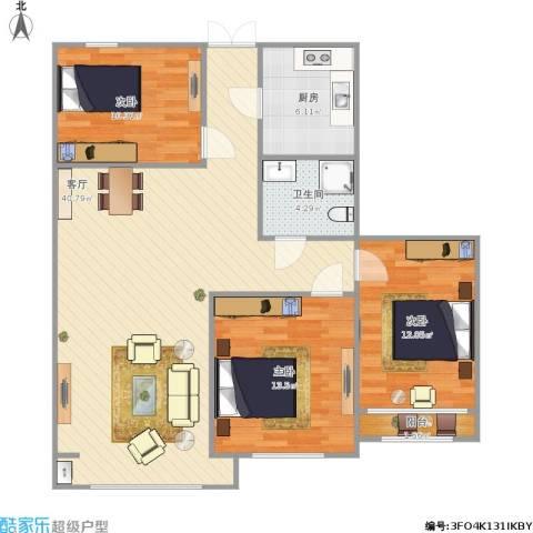 东方今典博雅3室1厅1卫1厨119.00㎡户型图