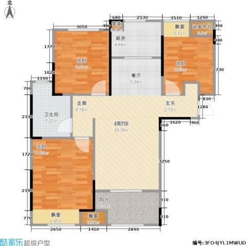 朗诗里程3室0厅1卫1厨90.00㎡户型图