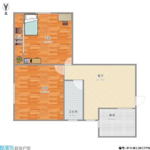 茂兴大厦2室1厅1卫1厨88.00㎡户型图
