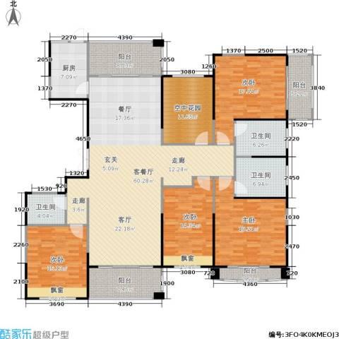 佛奥中金棕榈湾4室1厅3卫1厨198.00㎡户型图