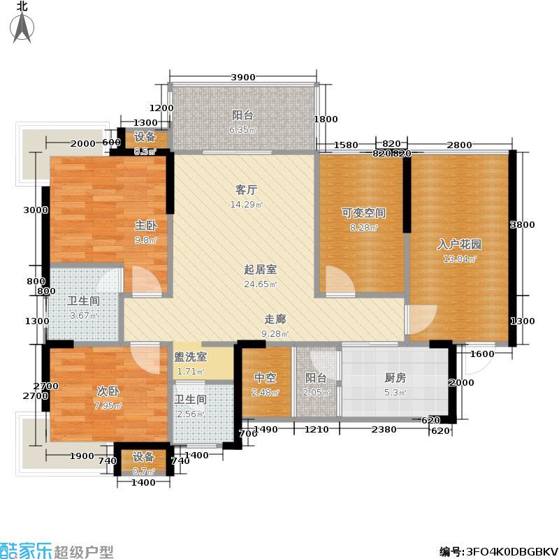 海骏达蜀都1号88.37㎡二期1-5号楼B-02偶数层户型