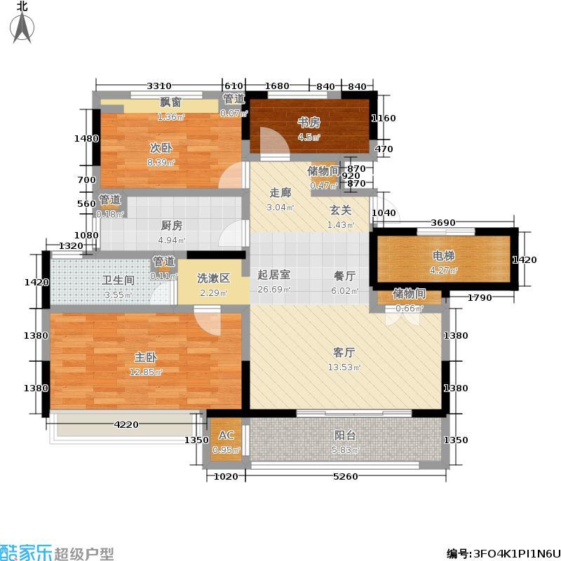 金地自在城3期88.00㎡G户型3室2厅