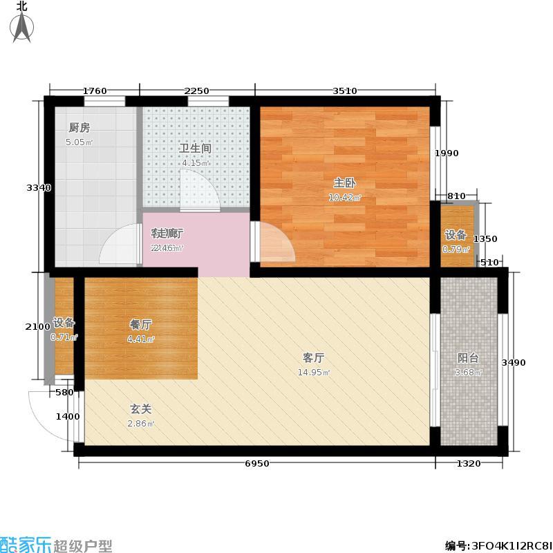 戴河海公园69.81㎡临街高层D-1户型1室2厅