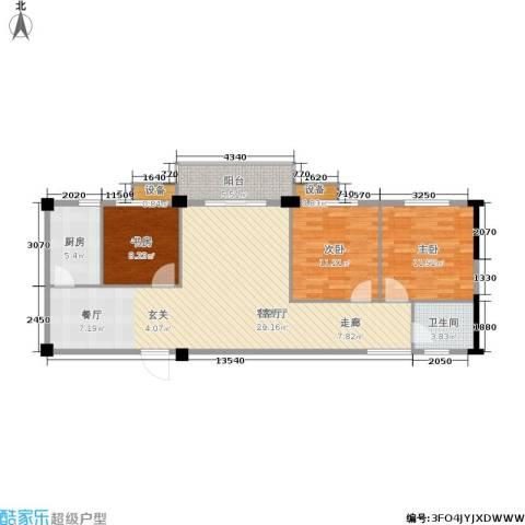 太子花苑3室1厅1卫1厨98.00㎡户型图