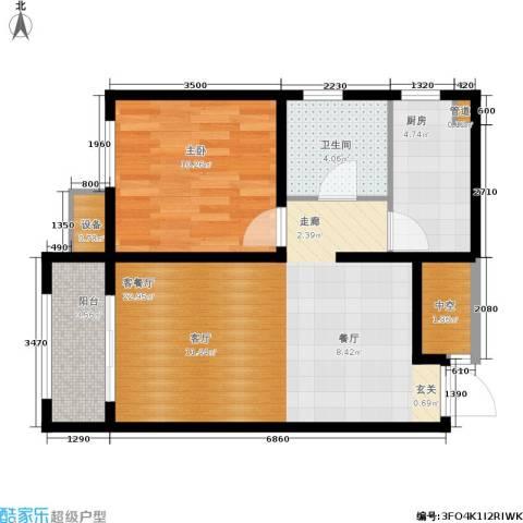 戴河海公园1室1厅1卫1厨68.00㎡户型图