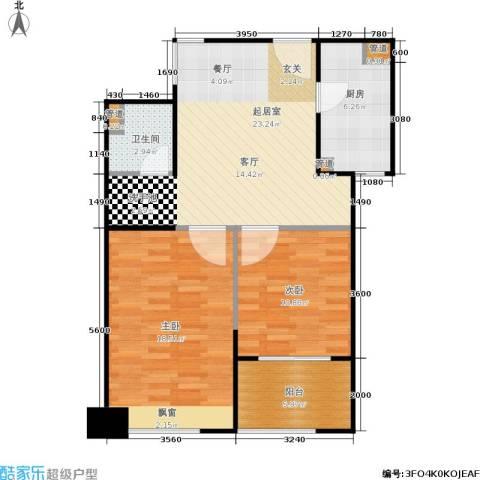 骏丰玲珑坊2室0厅1卫1厨74.00㎡户型图