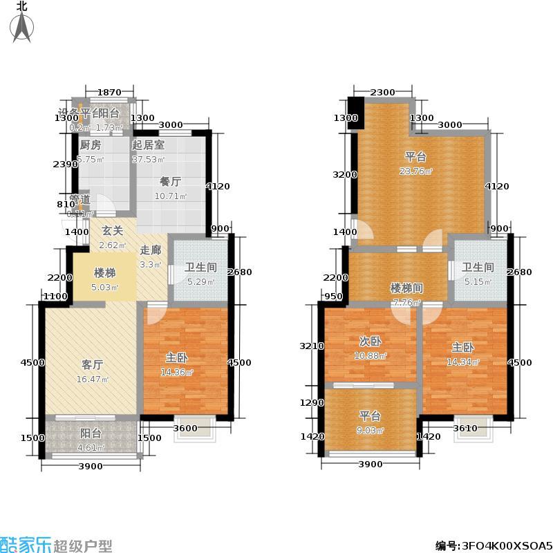阅城国际花园54.00㎡三期标准层面积5400m户型