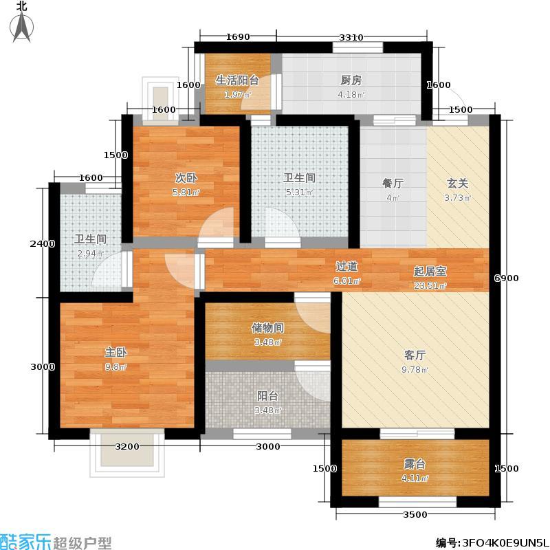 香江半岛80.20㎡一期1号楼标准层D2户型