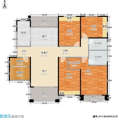 佛奥中金棕榈湾4室1厅2卫1厨163.00㎡户型图