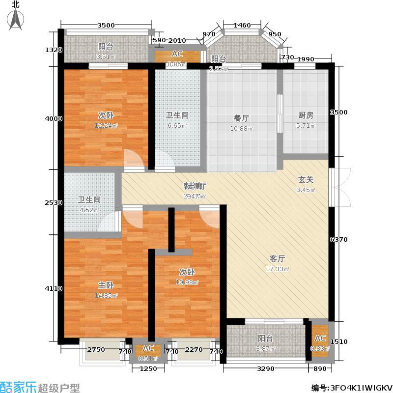 泰丰观湖158.87㎡5#B3-1户型3室2厅