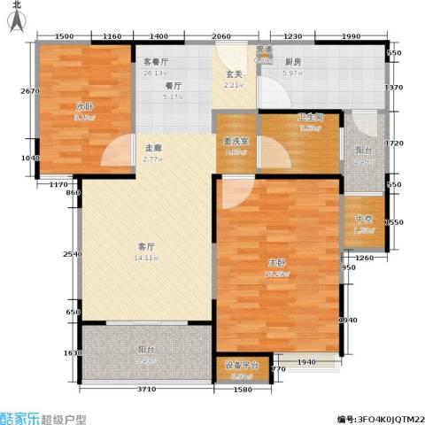 浦发御园2室1厅1卫1厨78.00㎡户型图