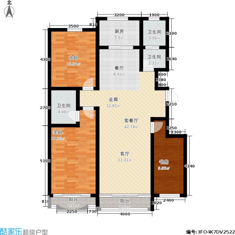 九龙明珠花园户型3室1厅3卫1厨