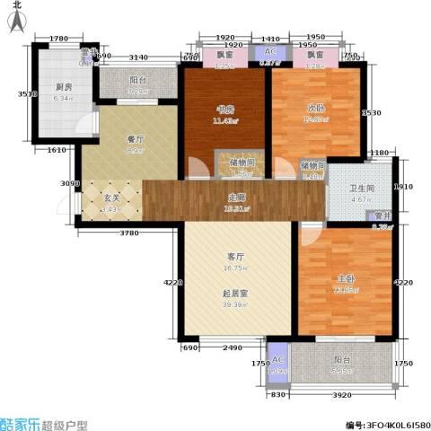 宝地东花园3室0厅1卫1厨117.00㎡户型图