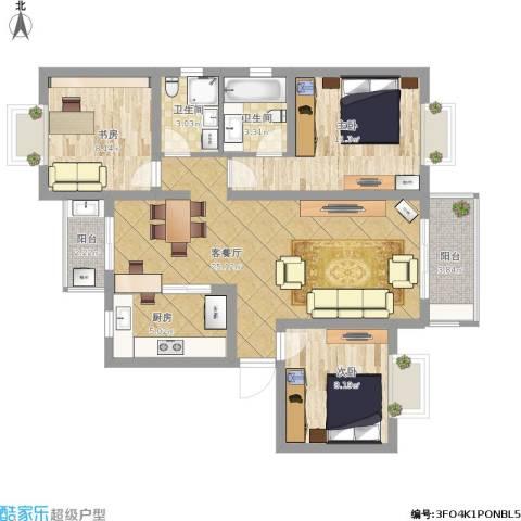 好日子大家园3室1厅2卫1厨102.00㎡户型图