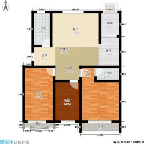 九龙明珠花园3室1厅2卫1厨105.00㎡户型图