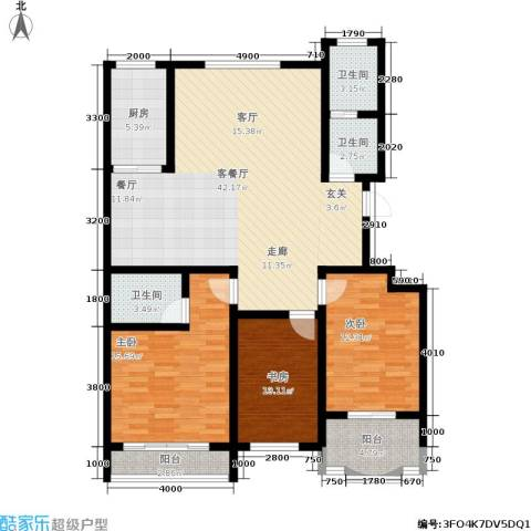 九龙明珠花园3室1厅3卫1厨125.00㎡户型图