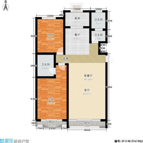 九龙明珠花园2室1厅3卫1厨116.00㎡户型图