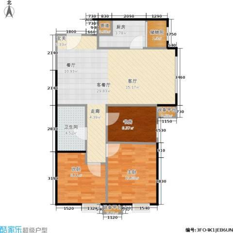 天津津南新城3室1厅1卫1厨90.00㎡户型图