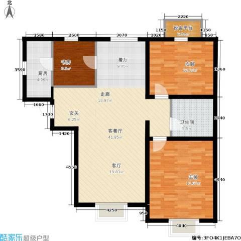 天津津南新城3室1厅1卫1厨98.00㎡户型图