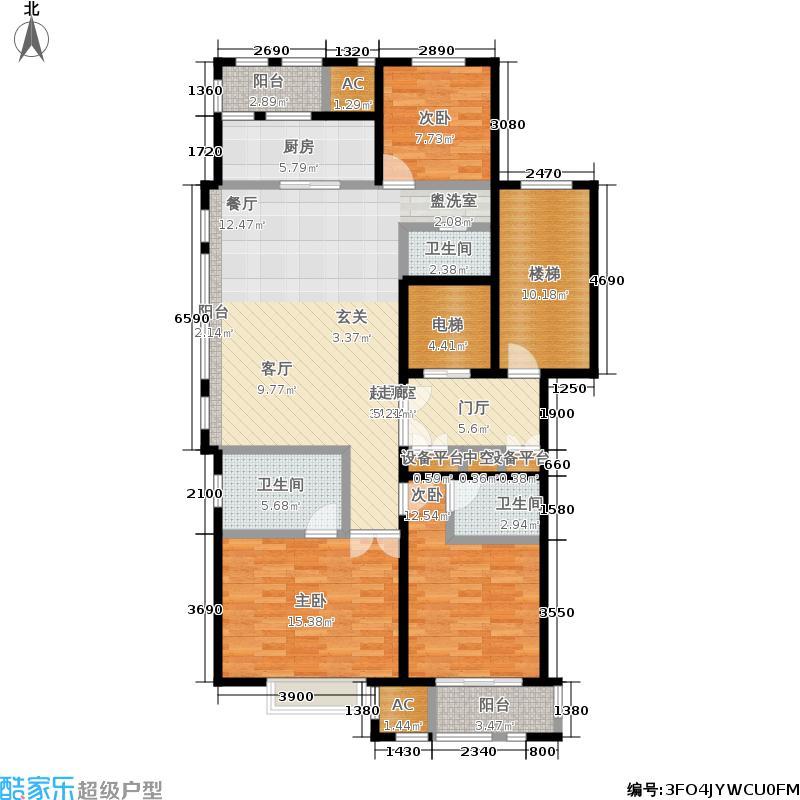 华润置地橡树湾136.00㎡LUX公寓6#高层标准层C户型