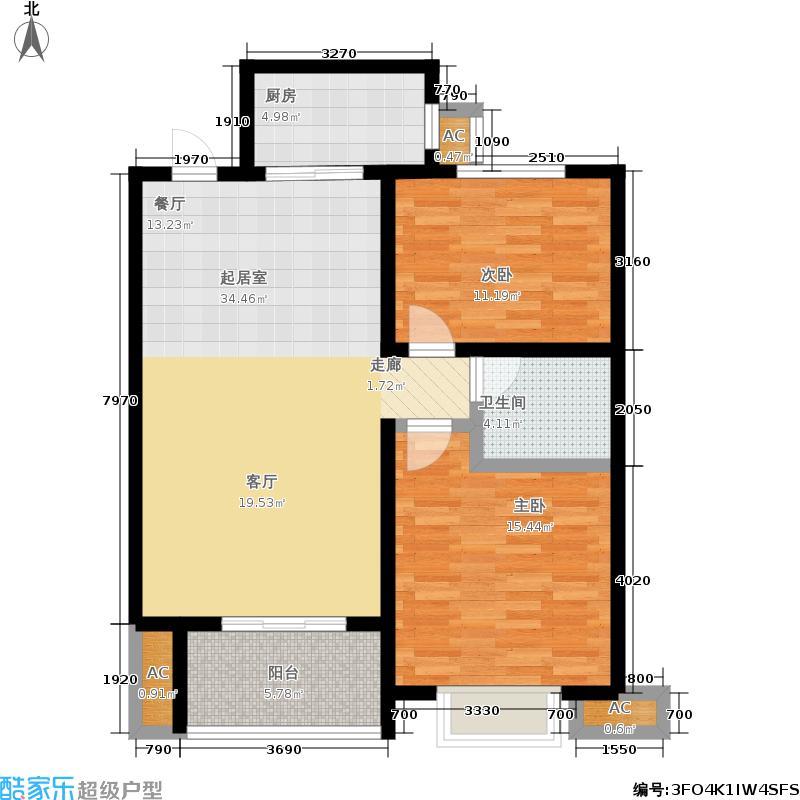 同祥城88.83㎡三期10#B4户型2室2厅