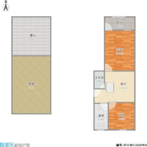 翠园新村2室1厅1卫1厨108.00㎡户型图